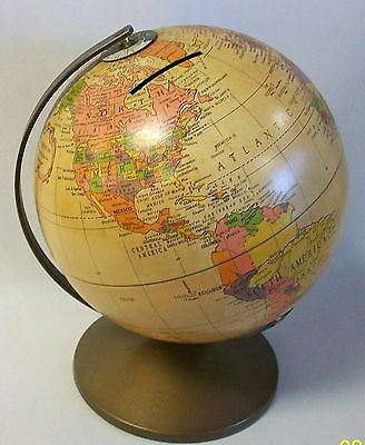 """The REVERE Vintage  Replogle 6"""" Metal Earth Globe Bank in Near MINT Condition"""