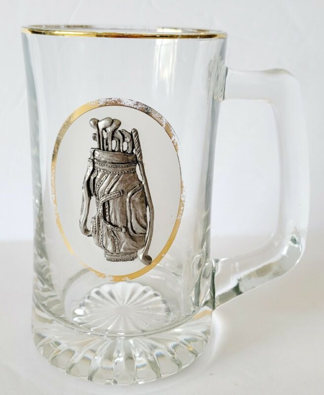 Beer Mug Stein Glass-with-3D Pewter Golf Bag and Clubs