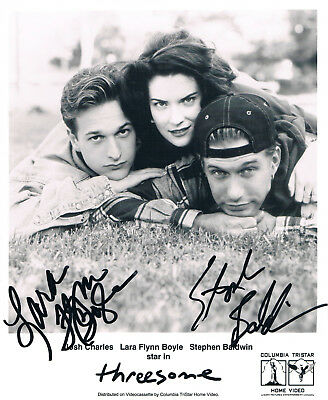 "Threesome - Lara Flynn Boyle & Stephen Baldwin autographs 8""x10"" signed photo"