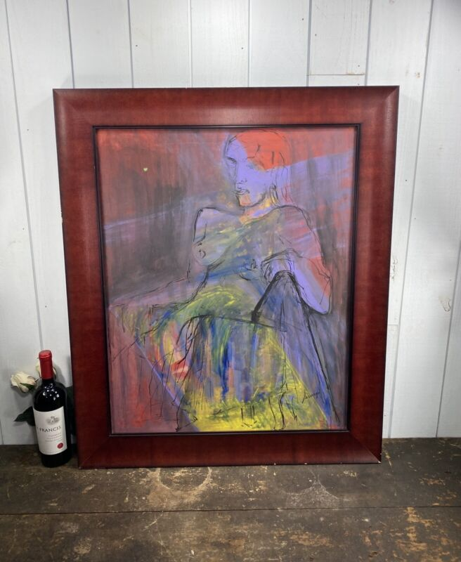 VINTAGE  WATERCOLOR ABSTRACT LADY SEATED NUDE SIGNED