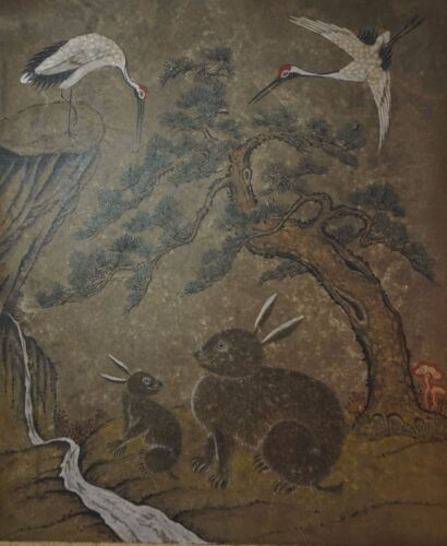 Very Fine Early 1900 Korean Folk Art MinHwa Hand Painting 2 Rabbits & 2 Cranes