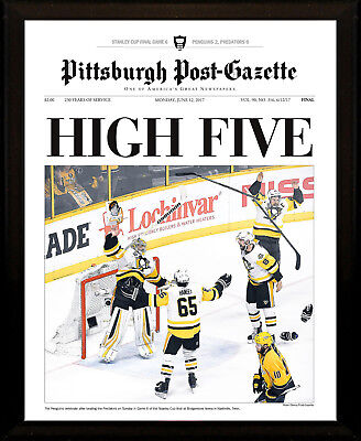 Pittsburgh Penguins 2017 Stanley Cup Champs 8X10 Plaque Post Gazette Front Page