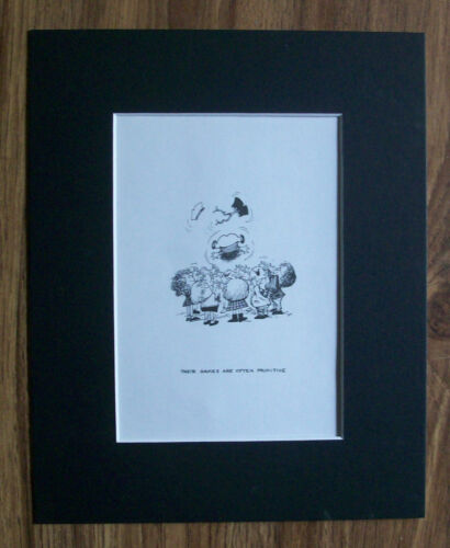 Child Cartoon Print Norman Thelwell Primitive Games Bookplate 1977 8x10 Matted