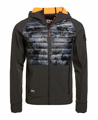 New Mens Superdry Mens Mountain Soft Shell Hybrid Jacket Charcoal Grit