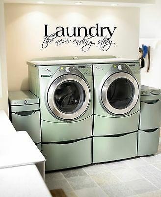Home Decoration - LAUNDRY THE NEVER ENDING STORY STICKER VINYL WALL DECAL WORDS LETTERING QUOTE