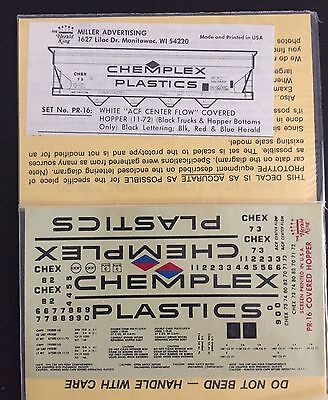 (Herald King HO Decals Chemplex 4 Bay White Covered Hopper #PR-16 Sealed )