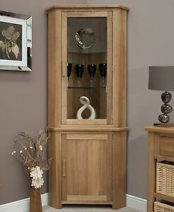 Nero-solid-oak-furniture-corner-display-cabinet-unit-with-light