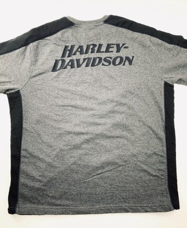 Harley Davidson Mens T Shirt Size XL Gray Long Sleeve Embroidered Logo