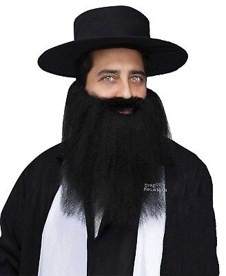 FULL Crimped Mustache Beard ZZ Top Biker Pirate Hasidic Jewish Costume Black - Pirate Beard