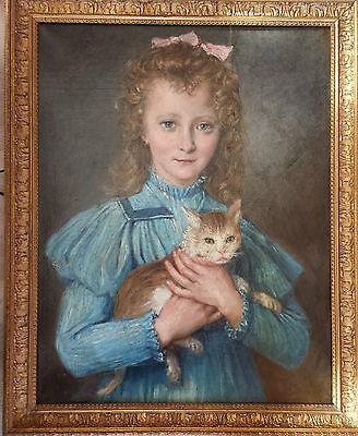 """Orginal Ölgemälde Gustave Marquerie 1898 """" Mädchen mit einer Katze auf dem Arm """""""