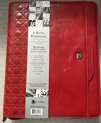 Ie  3 Ring Padfolio Binder Organizer With Handles. Zippered Legal Size.