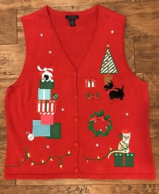 Westbound Ugly Sweater Vest Dog Cat Fun Christmas Red Schnauzer Medium Med EUC for sale  Shipping to Canada