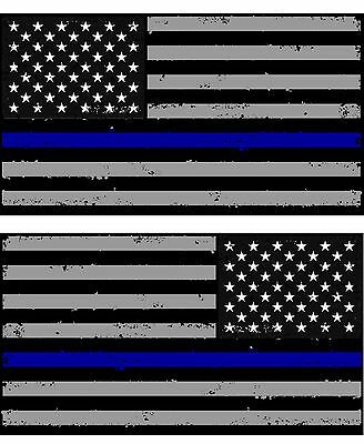 Tattered Police Thin Blue Line American Flag Decals Stickers x 2 (Blue)#2