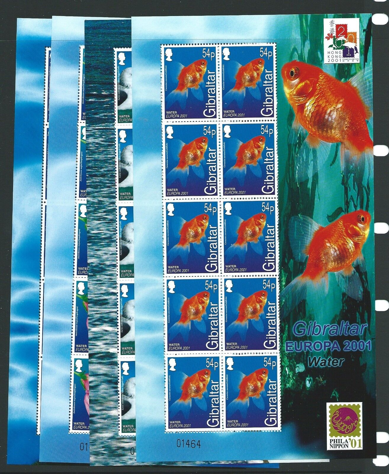 GIBRALTAR SG968/71 2001 EUROPA (WATER & NATURE) SHEETLETS MNH