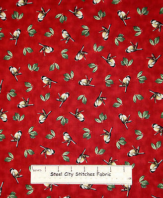 Christmas Bird Holly Fabric ~ 100% Cotton By The Yard ~  QT Winter Birds Holiday