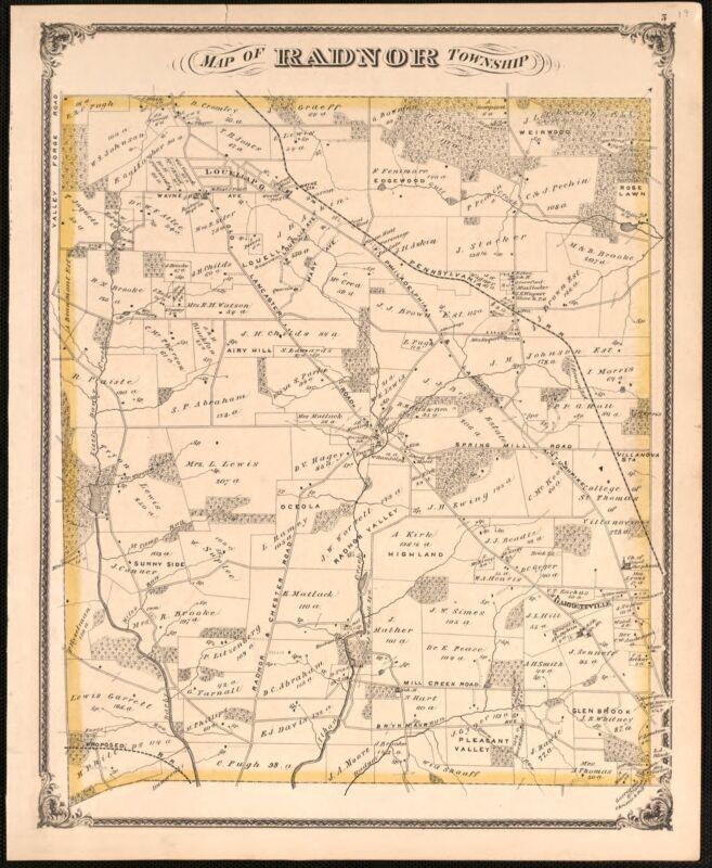1875 Atlas DELAWARE COUNTY PENNSYLVANIA plat map GENEALOGY history DVD P58