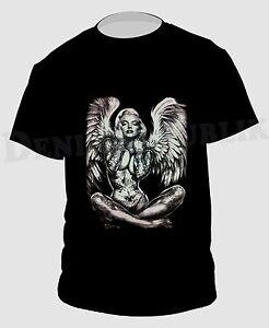 MONROE-ANGEL-WINGS-Black-T-Shirt-New-Mens-Tee-Marilyn-Tattoo-Art-Sexy-Angel
