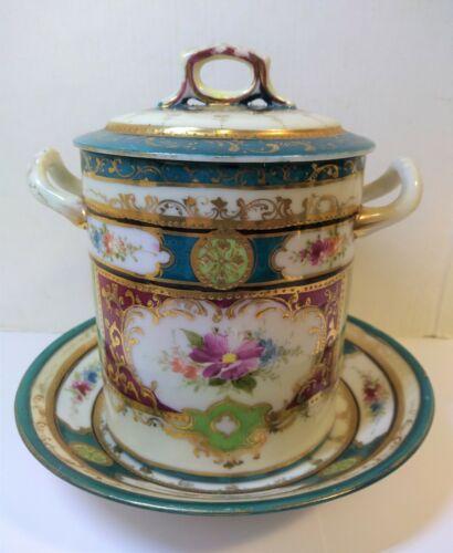 Antique ORNATE CONDENSED MILK JAR, LID & LINER Hand Painted Porcelain 3 Pieces