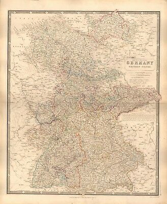 1844 LARGE ANTIQUE MAP- JOHNSTON - GERMANY, WESTERN STATES