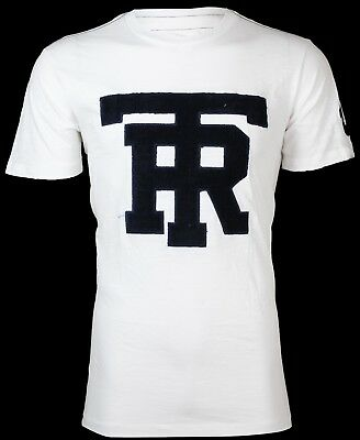 TRUE RELIGION Mens T-Shirt UNIVERSITY OF TR White w Navy Jacquard $79 Jeans NWT
