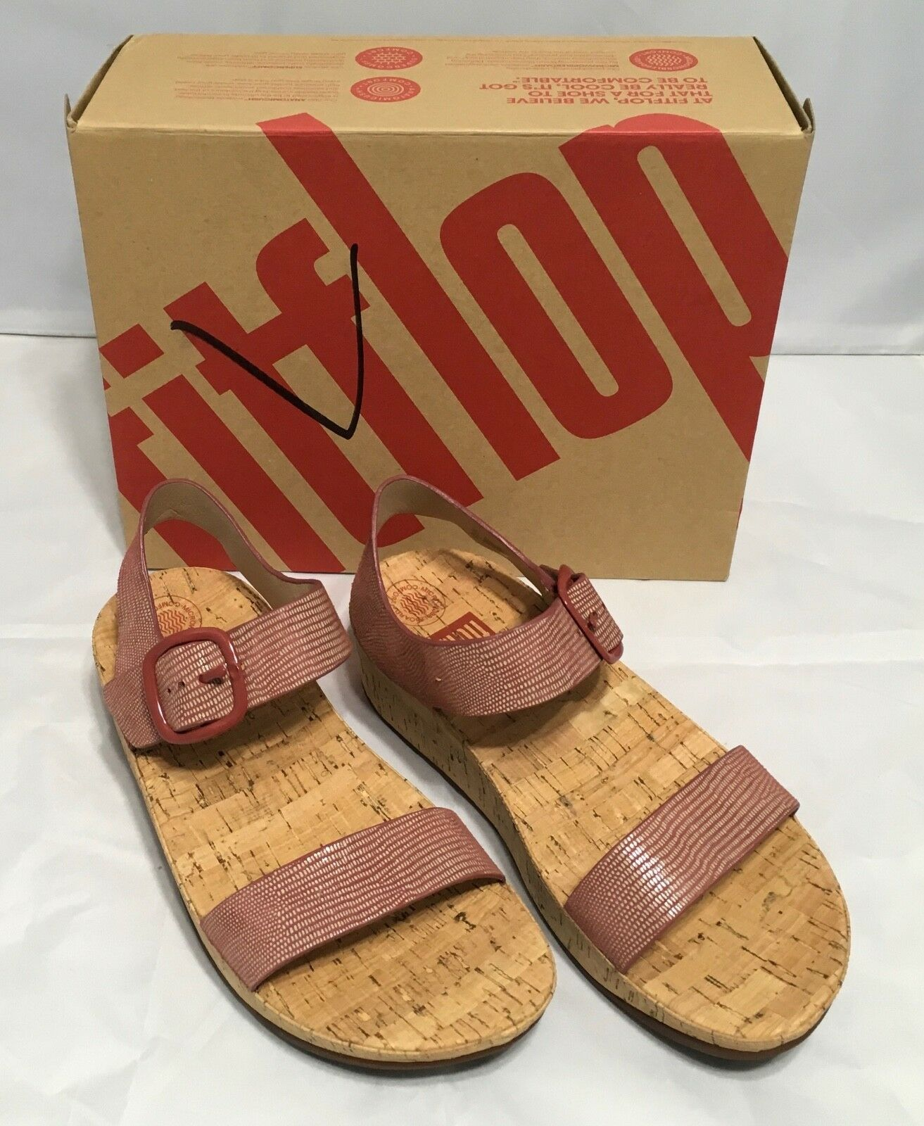 FitFlop Women's Shoes BON  Lizard Print Sandals Spice Size 7 9 10  NIB