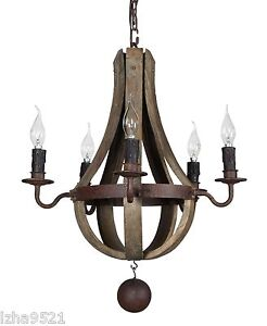 New Mini 20 Rustic Wood And Iron Wine Barrel Chandelier EBay