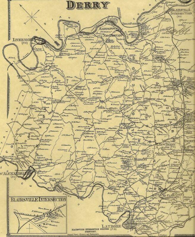 Derry West Latrobe New Alexandria Bradenville PA 1867 Maps Landowner Names Shown