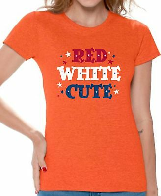 USA Flag Red White Cute Women's T shirt Tops 4th Of July Patriotic (Cute Fourth Of July Shirts)