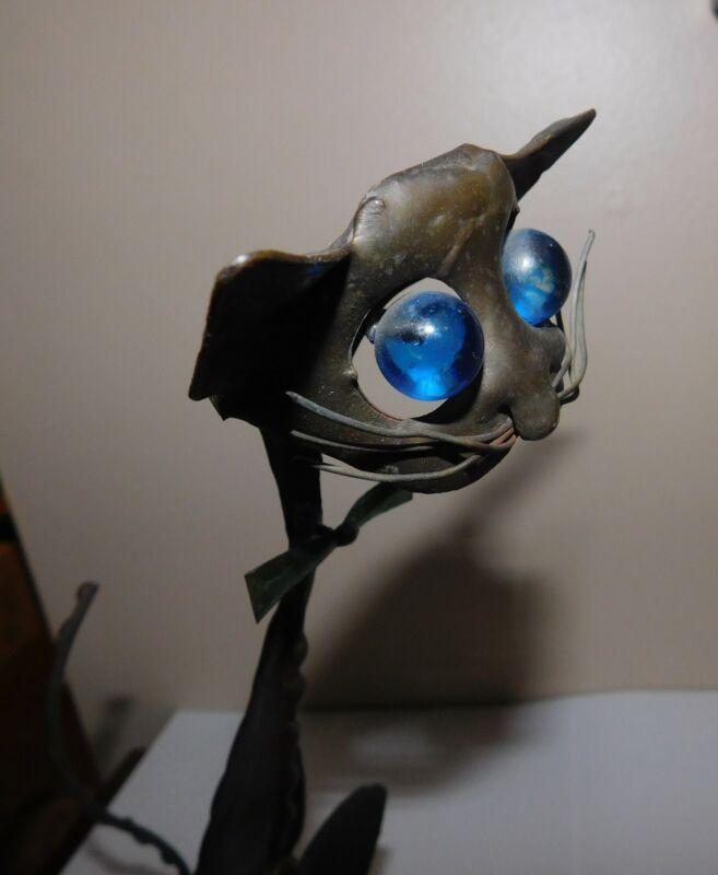 Ernesto Gonzalez Jerez Cat Sculpture Mid Century Modern Brutalist Brass Lucite