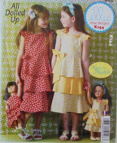 "Ellie Mae K144 Made To Match Girls Dresses 18"" Doll Dress Sewing Pattern Sz 3-10"