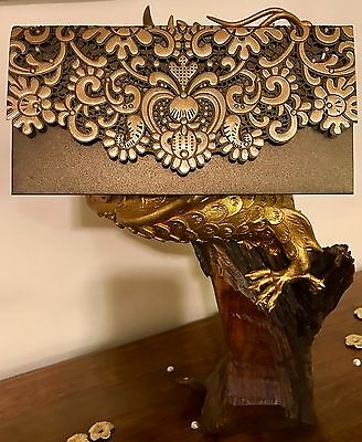 Bronze Royal Vintage Laser Cut Wedding Lace Invites Salami Money Gift Envelopes