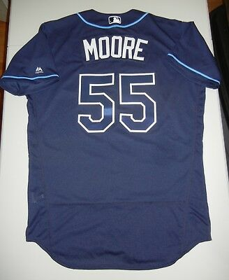 047b957156d GAME USED WORN Majestic MATT MOORE Tampa Bay Rays Jersey 46 Giants MLB  Authentic