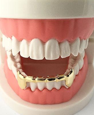 Custom 14K Gold GP Teeth Mouth Grillz Bottom Half Lower Bar Fangs Fang S020H USA