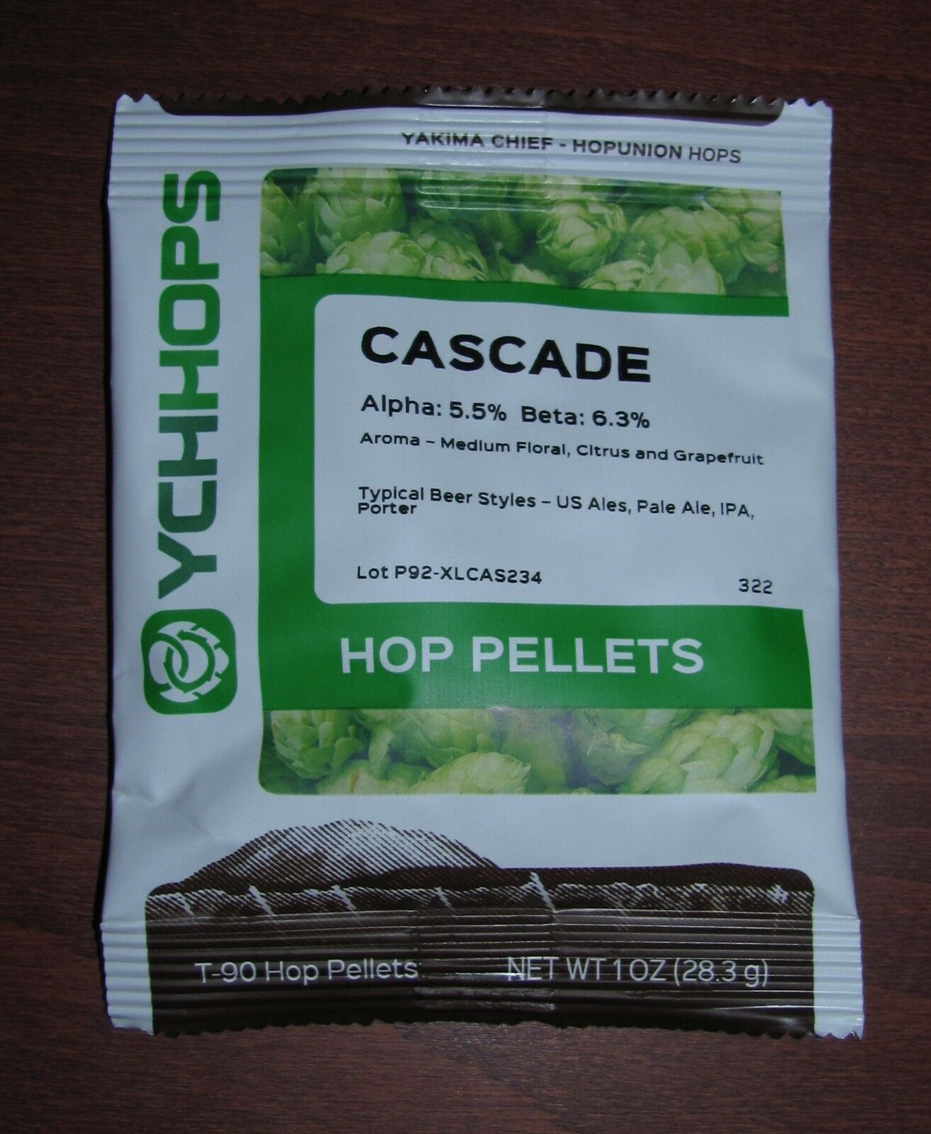 HOPS CASCADE 1oz YCH PELLET HOPS NITRO FACTORY PACK FOR HOME BREWING CRAFT BEER