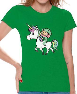 Leprechaun Riding A Unicorn Shirt Cute Unicorn Tshirt for Women Cute Irish Gifts