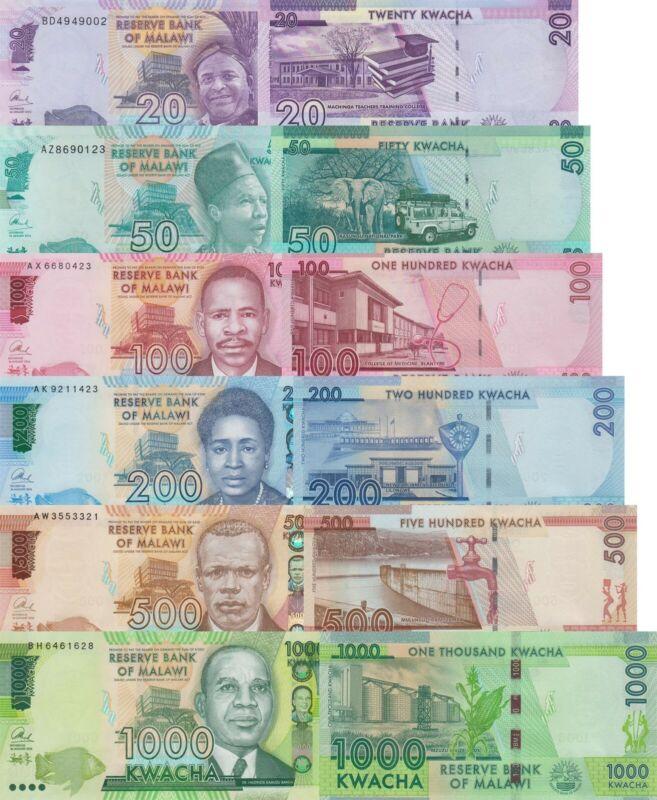 Malawi 6 Note Set 2: 20-1000 Kwacha (2014-2016) - p62-p66 UNC