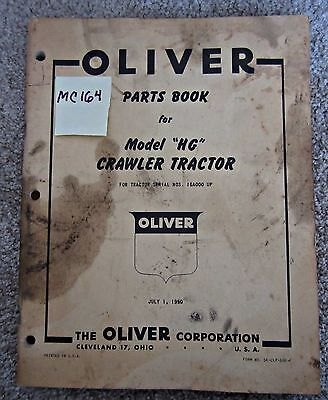 Oliver Parts Bookmanual For Model Hg Crawler Tractor Dated 1950