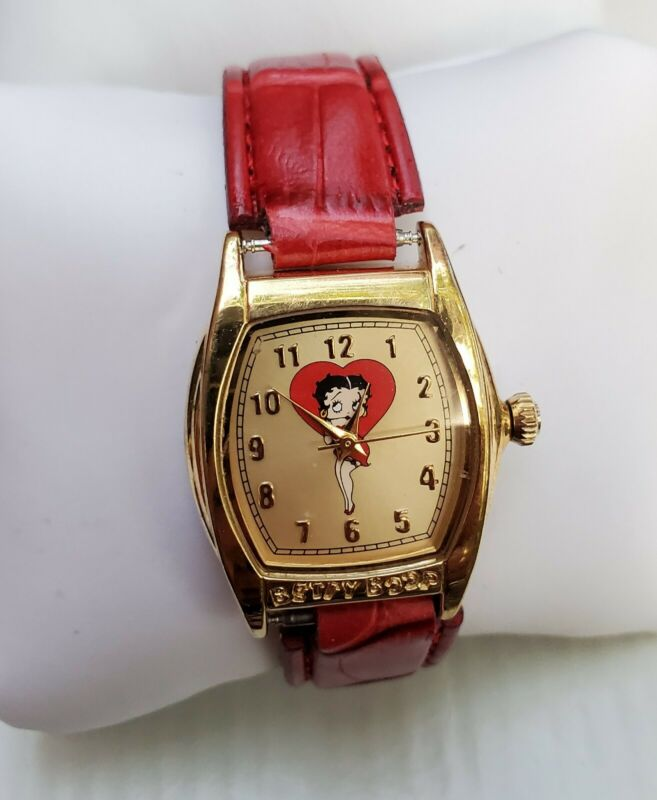Vintage Ladies Betty Boop Red Faux Leather Watch