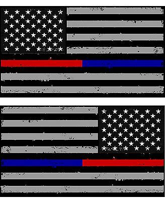 Tattered Police & Fire Thin Blue/Red Line American Flag Decals Stickers (2brtat)
