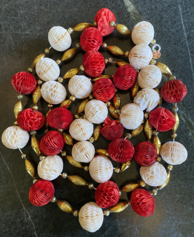 Vintage Mercury Glass Christmas Garland w Honeycomb Paper Balls Gold Indent