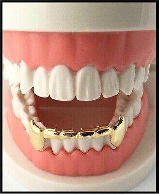 NEW! Custom 14K Gold GP Teeth Mouth Grillz Bottom Half Lower Bar Fangs Fang