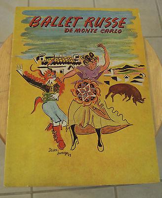 "Vtg 1943 Souvenir Booklet~""BALLET RUSSE""~De Monte Carlo~Danovila~Paper Ephemera~"
