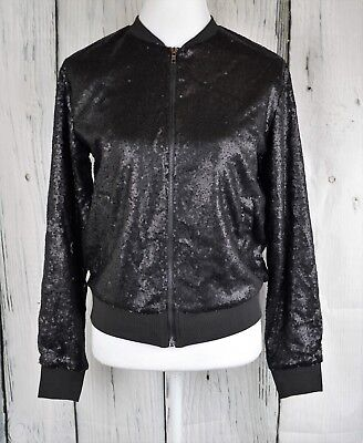 Say What? Ladies Sequinned Bomber Jacket Coat Moto Zip Front L/S  Black Small S
