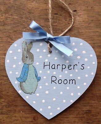 Personalised Name Plaque Heart Bedroom Sign Girl Boy Baby PETER RABBIT Room ⭐