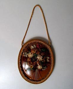 Cadre-ovale-verre-bombe-fleurs-sechees-Vintage-31x24cm