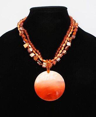 New Orange Bead and Shell Disc Pendant Necklace nwt #N2681 Orange Shell Necklace