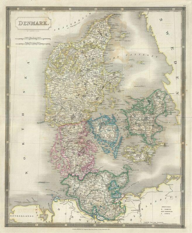 1835 Hall Map of Denmark