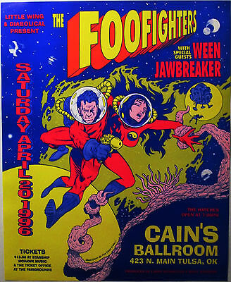 FOO FIGHTERS 1996 Concert Poster - Cain's Ballroom, Tulsa, Oklahoma 20 years old
