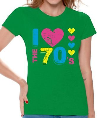 Women's I Love The 70's T shirts Shirts Top for Women 70s Party 1970s Lovers - 1970s Clothing For Women