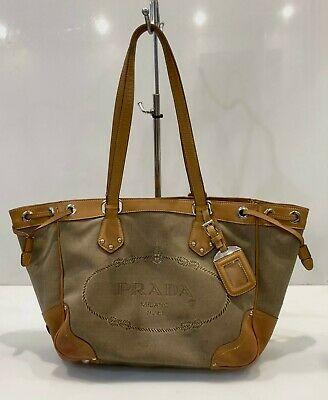 Vintage Prada Jacquard Drawstring Shoulder Bag Satchel Hobo